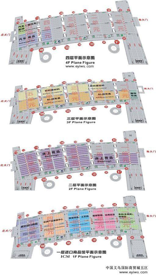 中国义乌国际商贸城五区行业分布图