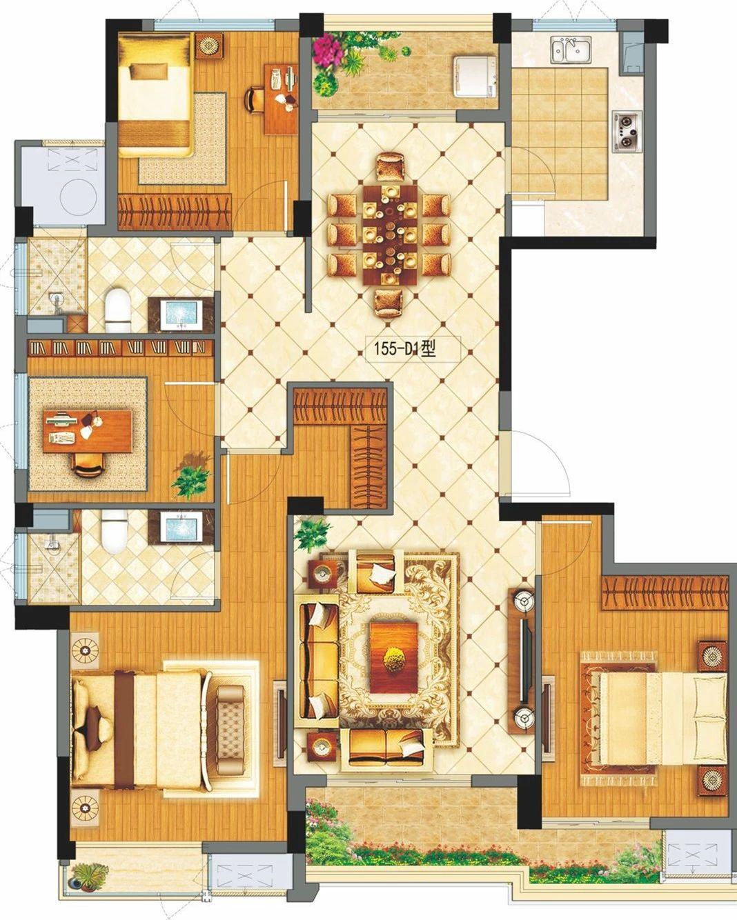 香悦府西区 155-D1户型图