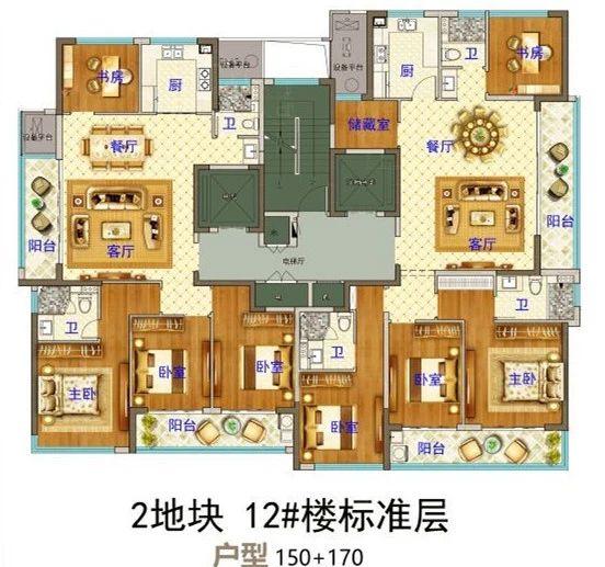 义乌市下车门新村B区块  12#楼标准层 户型图