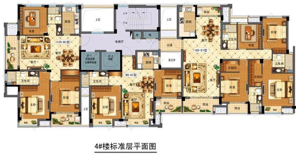 香悦府东区4#楼 标准层平面户型图