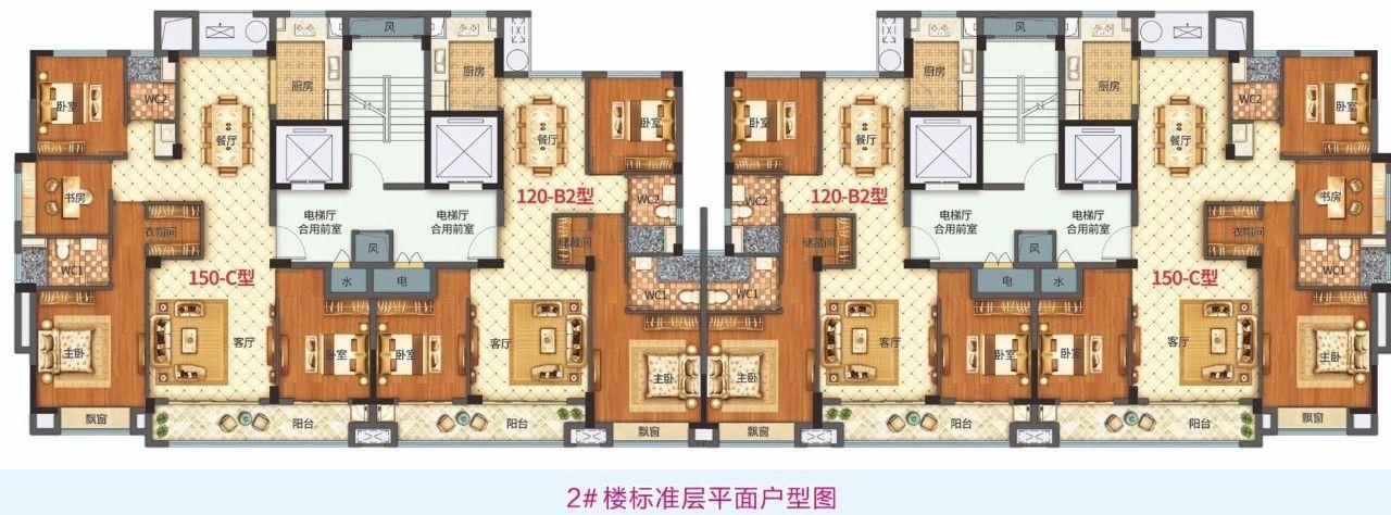 楼店府2#楼 标准层平面户型图