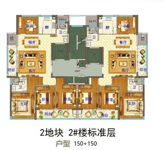 义乌市下车门新村B区块  2#楼标准层 户型图