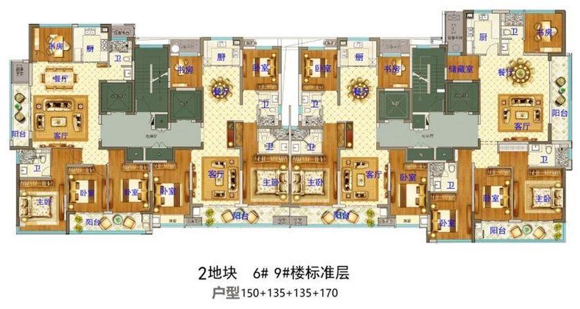 义乌市下车门新村B区块  6#9#楼标准层 户型图