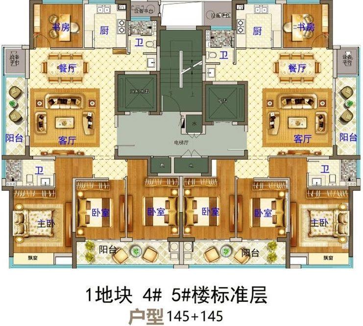 义乌市下车门新村A区块 4#5#楼标准层 户型图