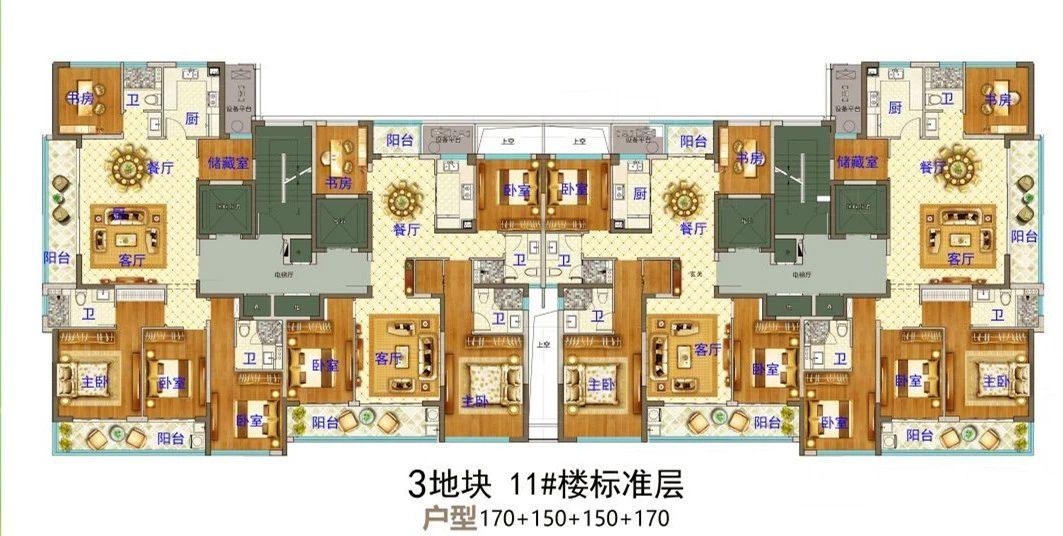 义乌市下车门新村C区块 11#楼标准层 户型图