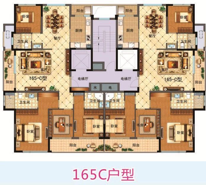 望江府(市场新村)165C型户型图
