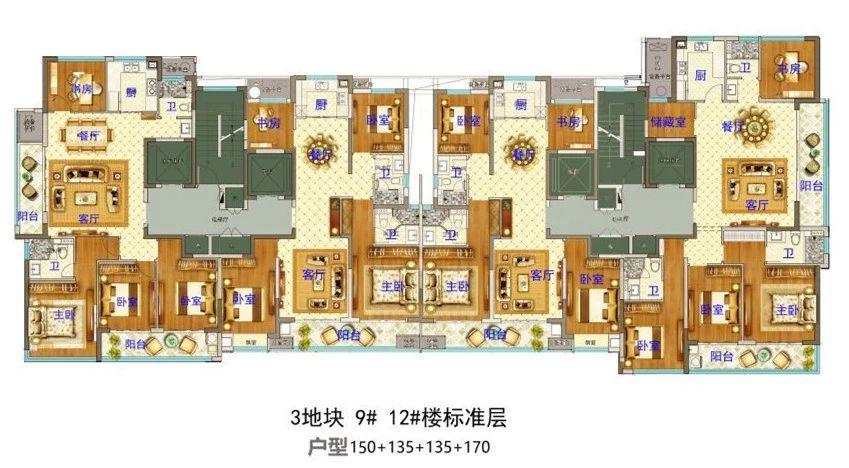 义乌市下车门新村C区块 9#12#楼标准层 户型图