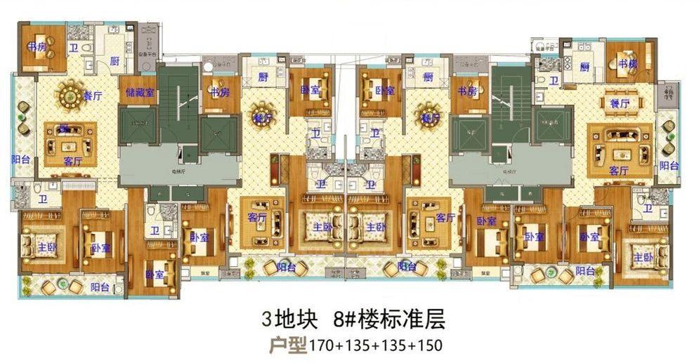 义乌市下车门新村C区块 8#楼标准层 户型图