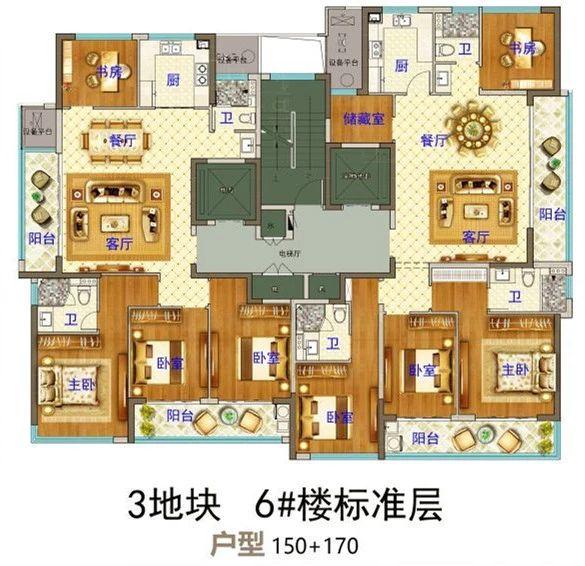 义乌市下车门新村C区块 6#楼标准层 户型图