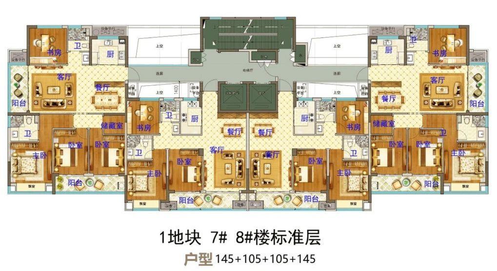 义乌市下车门新村A区块 7#8#楼标准层 户型图