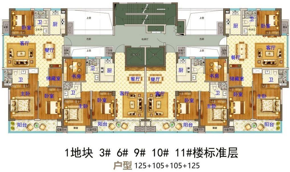 义乌市下车门新村A区块 3#6#9#10#11#楼标准层 户型图